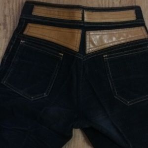 Pants - Sz 2 Black Jeans in Corduroy w/Leather Accents
